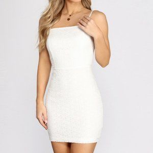 WINSOR: SMALL TOWN GIRL EYELET MINI DRESS, NEW XS